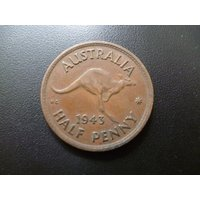 1943 Australia HalfPenny coin featuring a Leaping Kangaroo and King George the Sixth, ideal for craft or jewellery making. - Kangaroo Gifts