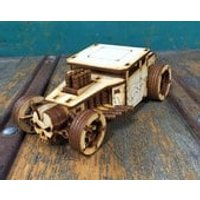 Hot Rod 3D Wooden Model Puzzle Construction Kit Woodcraft Toy DIY Laser Cut Realistic Great Gift Plywood - Construction Gifts