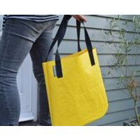 Handmade in UK Yellow Recycled Bouncy Castle Vinyl PVC Tote Shopper Shoulder Bag - Bouncy Gifts