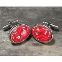 Circuit Board Cufflinks Red Cufflinks Oval Cufflinks Christmas Gift For Him Recycled Circuit Board Engineers Gift Electronic gift Accessory - Electronic Gifts