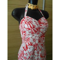 Red Hawaiian Pin up Wiggle dress Vintage Repro 50s - Hawaiian Gifts