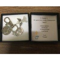 Personalised first holy communion gift Irish lucky sixpence keyring keepsake boy / girl comfirmation   6d Reul - First Holy Communion Gifts