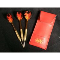 Vintage brass and plastic darts set in case with flites in fantastic condition - Darts Gifts