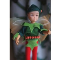 Vintage Hornby Flower Fairies 1983 HOLLY PIXIE 1985 Cicely Mary Barker 1980s faerie dolls boy fantasy male fairy doll Christmas winter toy - Hornby Gifts