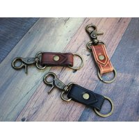 Leather Keyring with Belt Clip, Leather Keychain, House Warming Gift, First Home, Christmas Stocking Filler - Warming Gifts