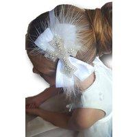 Girl Christening / Baptism / Holy Communion / Confirmation  Naming Ceremony  Satin  Headband Diamantes  Rhinestones - First Holy Communion Gifts