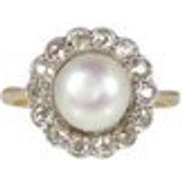 Edwardian Pearl Diamond Ring, In 18ct Gold, Antique Pearl Ring, Antique Pearl Engagement Ring, Antique Cluster Ring, Antique Rings - Engagement Ring Gifts