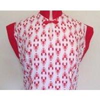 Vintage 1950s inspired lobster Hawaiian tea timer wiggle dress M only rockabilly VLV - Hawaiian Gifts