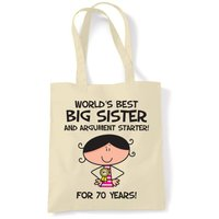 Worlds Best Big Sister 70th Birthday Tote Bag - 70th Birthday Gifts