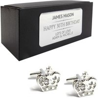 Royal crown prince CUFFLINKS 30th, 40th, 50th, 60th, 70th birthday gift, presentation box personalised ENGRAVED plate  214 - 70th Birthday Gifts