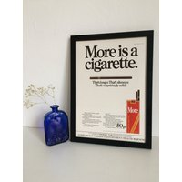 More Cigarettes Vintage Framed Advert, Old Fashioned Tobacco Poster, Unique Sentimental Gift Him Her Mum Dad, Wall Decor Office Man Cave - Sentimental Gifts