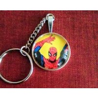 Spider Man Keyring Recycled Marvel Comic book Upcycled Recycled Repurposed - Spider Man Gifts