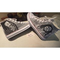 Bob Marley portrait canvas custom boots - Bob Marley Gifts