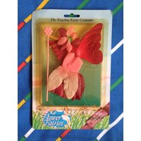 Vintage Hornby Flower Fairies costume FUSCHIA deluxe dress wing wand hat Cicely Mary Barker 80s Fuchsia Fairy dolls accessories MOC mint set - Hornby Gifts