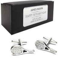 Tennis racquet CUFFLINKS 30th, 40th, 50th, 60th, 70th birthday gift, presentation box PERSONALISED ENGRAVED plate  012A - 70th Birthday Gifts