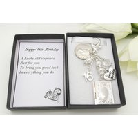 Personalised happy 16th birthday gift. Clear book locket lucky sixpence, charm, keyring,  gift box, choice of heart and number charm - 16th Birthday Gifts