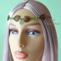 Elven Headpiece, Woodland Headdress, Forest Circlet, Pagan Headdress, Woodland Fairy Circlet, Green Leaf Headdress, Elf Tiara, Elfin Crown - Fairy Gifts