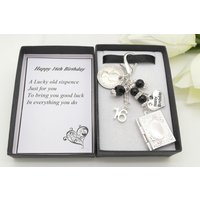 Personalised happy 16th birthday gift. Black book locket lucky sixpence, charm, keyring,  gift box, choice of heart and number charm - 16th Birthday Gifts