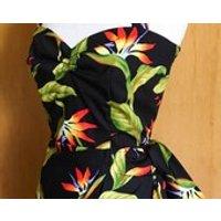 Vintage 1950s inspired Hawaiian sarong halter dress black with bird of paradise  XS - Hawaiian Gifts
