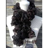 HALF PRICE SALE! Ruffle scarf, flouncy, bouncy, frilly, boa, boho, festival, gothic, two tone ebony and dark brown - Bouncy Gifts