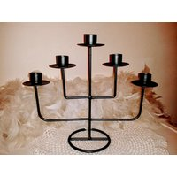 Vintage metal candelabra of 5 candles, grey galvanised metal, centre table decor, gift ideas - Seek Gifts