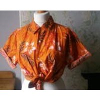 Unisex vintage Hawaiian shirt large burnt orange  tropical shirts collar short sleeves palm trees foliage Dolly Topsy Etsy UK - Hawaiian Gifts