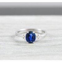 Lab created Sapphire and Diamond oval engagement ring in 14 carat white/rose/yellow gold for her handmade ring UK - Engagement Ring Gifts