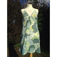 Vintage 1960s, 1970s floral patterned full slip, petticoat in shades of green. From St Michael. Lingerie, lounge wear - Floral Gifts