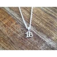 Handmade Sterling Silver Age Pendant, Personalised Necklace, 16th Birthday Necklace - 16th Birthday Gifts