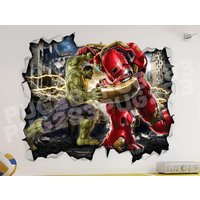 Marvel Hulk Iron Man 3D look wall vinyl sticker poster  Hulkbuster Bedroom Mural - Iron Man Gifts