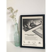 Vintage Paper Mate Framed Advert, Old Fashioned Poster Frame, Office Man Cave Wall Decor, Unique Sentimental Gift Him Her Dad Mum, - Sentimental Gifts