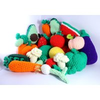 Crocheted Large Fruit  Veg Bundle (23 pieces!!) Play Food  Educational Toys Learning Games  Preschool  Nursery  Toddler  Harvest - Educational Gifts