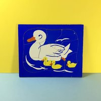 Vintage Jigsaw  Simple Childs Puzzle  Ducks  Chicks  Vintage Jigsaw Puzzle  Vintage Toys  Wooden Puzzle - Jigsaw Puzzle Gifts