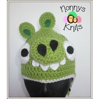 Crochet Angry Birds green pig Hat. Prices vary, please see full listing - Angry Birds Gifts