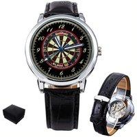 Darts Dartboard Gents Mens  Skeleton Wrist Watch  Gift Engraving - Darts Gifts