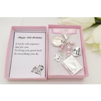 Personalised happy 16th birthday gift. Pink book locket lucky sixpence, charm, keyring,  gift box, choice of heart and number charm - 16th Birthday Gifts