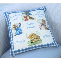 Beatrix Potter Personalised Memory Cushion  Peter Rabbit  Birth Details Cushion  New Baby Gift  Embroidered Names - Beatrix Potter Gifts