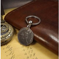 Commemorative 2016 Beatrix Potter Squirrel Nutkin 50 pence Coin Keychain - Beatrix Potter Gifts