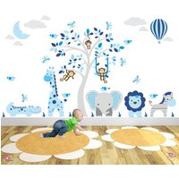 Jungle Animals Wall Stickers, Monkeys, Giraffe and Elephant around a tree mural. Hot Air Balloon  Moon. Navy Blue and Grey nursery Decals. - Hot Air Balloon Gifts