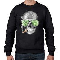 Weed Skull Mens Sweatshirt Jumper  Marijuana Weed Leaf Cannabis Skulls Spliff Joint Stoner Skeleton - Cannabis Gifts