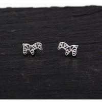 Sterling Silver Dainty Little Zebra Horse Stud Earrings,  Textured Finish, Cute and Sweet Design H27 - Zebra Gifts
