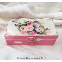 Vintage Rose Box, Shabby Elegance, Pink Make Up Box, Cottage Chic, Rustic Bedroom Box, Victorian Roses Box, Bohemian Floral Gift Box - Floral Gifts