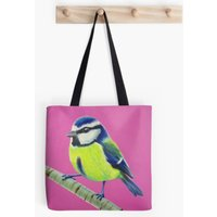 Pink  Blue Tit  Bird Lover  Tote Bag  Handbag  Shopping Bag  Shoulder Bag  Cotton Canvas  Kirstin Wood Artist  Original Art - Artist Gifts