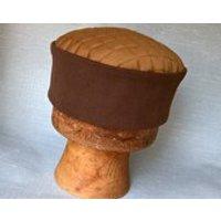 Brown Fez Pillbox Hat Victorian Style Smoking Cap, Camel Kufi Edwardian Lounge Hat Steampunk Men - Smoking Gifts