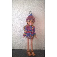 Multicoloured sweater and hat with a touch of sparkle for Bratz doll. OOAK hand knit coat with big collar and hat with quirky tail. - Bratz Gifts