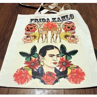 Frida Kahlo canvas tote bag, Mexican artist, day of the dead, Skull, Deer, Toucan - Artist Gifts