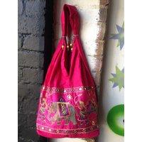 Pink Indian Elephant Embroidered Cotton Shoulder Bag. Yoga Boho Hippie Hippy - Shoulder Bag Gifts
