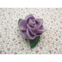 A lovely studio handmade  English vintage jewelry flower brooch of hand modeled and painted lilac rose design surrounded with green leaves - Lilac Gifts