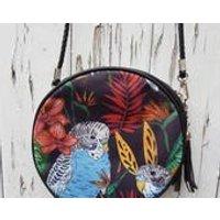 Tropical Budgie Handbag  Jungle Budgerigar Bird Bag Black Round - Handbags Gifts