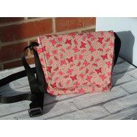 Butterfly patterned messenger bag, shoulder bag, adjustable strap, velcro fastening! Only 1 Available! Unique! - Shoulder Bag Gifts
